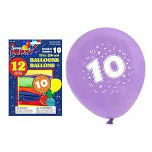 """12"""" printed balloons ; #10 ; 10 pack ; assorted colors"""