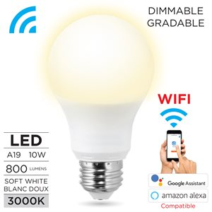 Smart wi-fi A 19 LED bulb white,9W dimmable