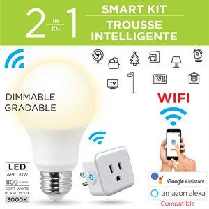 Kit:smart wi-fi A 19 Led bulb white, 9W dimmable and smart wi-fi plug