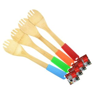 Bamboo Spatula Fork with Rubber Handle 4Asst colours