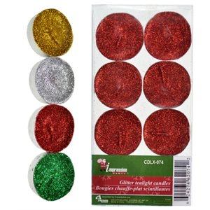 Lumignons brillants ; emballage de 8 ; assortiment de 4 couleurs