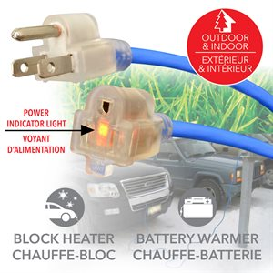 50 ft. Outdoor / indoor extension cord with lighted plug