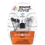 Noise-reduction earbuds - double pack with 3.5mm double adapter