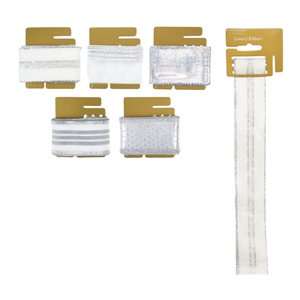 Luxury ribbons ; 9 feet ; 5 assorted designs ; gold