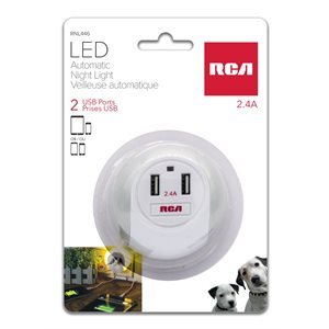 RCA LED automatic night light with 2 port USB